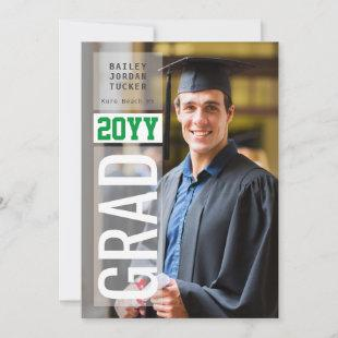 Simple GRAD Side Overlay Green ANY Year Graduation Announcement