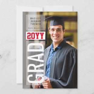 Simple GRAD Side Overlay Red ANY Year Graduation Announcement
