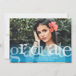 Simple Graduate Blue Overlay Photo Graduation Announcement