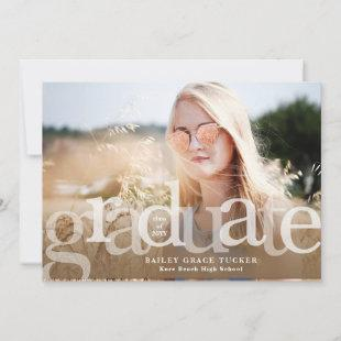 Simple Graduate Brown Overlay Photo Graduation Announcement