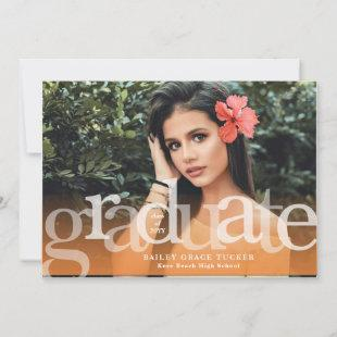 Simple Graduate Orange Overlay Photo Graduation Announcement
