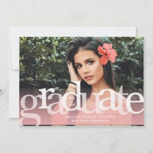 Simple Graduate Pink Overlay Photo Graduation Announcement