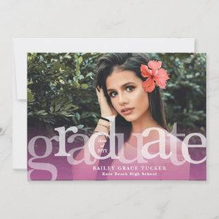 Simple Graduate Purple Overlay Photo Graduation Announcement