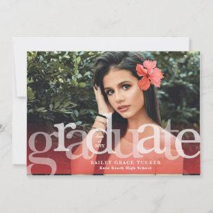 Simple Graduate Red Overlay Photo Graduation Announcement