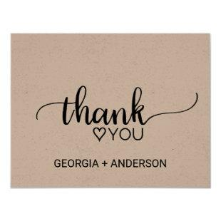 Simple Kraft Calligraphy Thank You Postcard