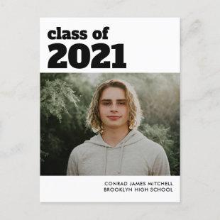 Simple Modern Class of Graduate Graduation Photo Announcement Postcard