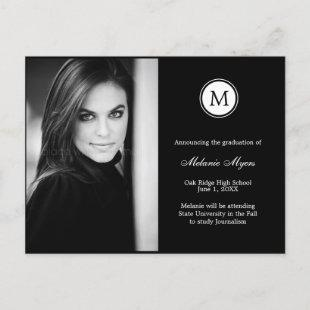 Simple Monogram EDITABLE COLOR Graduation Postcard