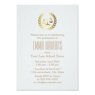 Simple Plain Silver Law School Graduation Invitation
