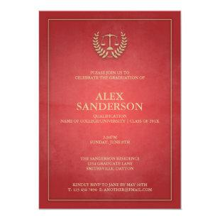 Simple Red and Gold Law School Graduation Invitation