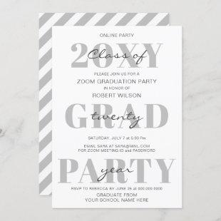 Simple Typography Modern Online Graduation Party Invitation