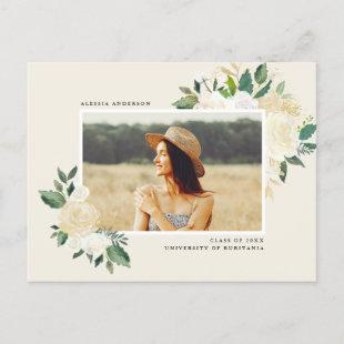 Simple Watercolor Greenery Floral Graduation Party Invitation Postcard