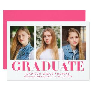 Simply Bold | Hot Pink Graduation Party Invitation