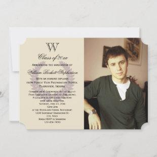 Single Initial Purple Monogram Photo Graduation Invitation