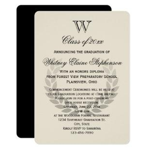 Single Letter Monogram Classic College Graduation Invitation