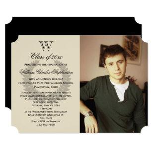 Single Letter Monogram Classic Photo Graduation Invitation