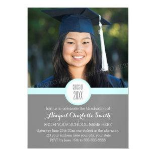 Sky Grey Modern Graduation Party Magnetic Card