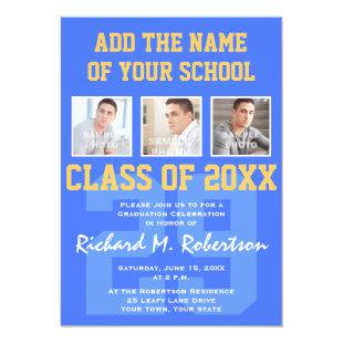 Sky Royal Blue and Gold Athlete's Graduation Invitation