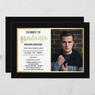 Sleek Gold & Black | Young Man's Graduate Photo Invitation