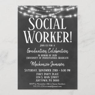 Social Worker Graduation Party Invitation