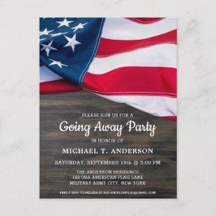 Soldier Going Away Party American Flag Military  Postcard