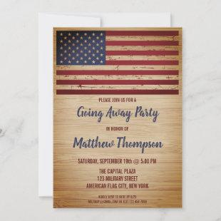 Soldier Going Away Patriotic American Flag Invitation