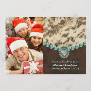 Southwest Leather Country Western Christmas Photo Holiday Card