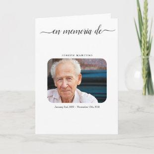 Spanish Funeral Program  Memorial Service Pamphlet