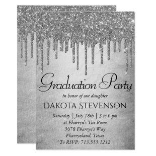Sparkle Drip Graduation | Silver Platinum Icing Invitation