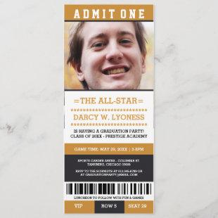Sports Ticket Graduation Party Invites