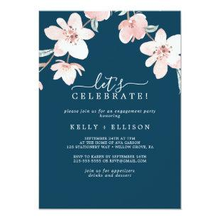 Spring Cherry Blossom Navy Let's Celebrate Invitation
