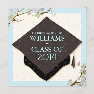 Spring Flowers + Graduation Cap 2014 Party Invites