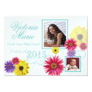 Spring Garden Graduation Twin Photo Invitation