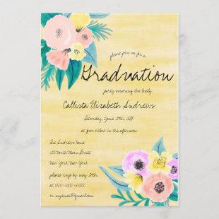 Spring Pink Yellow Floral Watercolor Graduation Invitation