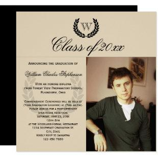 Square Letter Monogram Classic Photo Graduation Invitation
