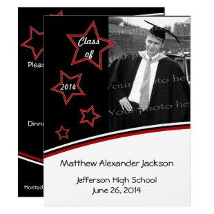 Stars Photo Graduation Party Invite, Black and Red Invitation