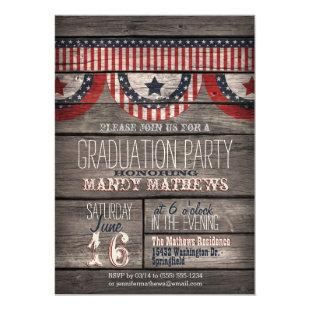Stars & Stripes on Rustic Wood Graduation Party Invitation