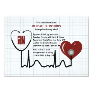 Stethoscope and Heart Graduation Invitation