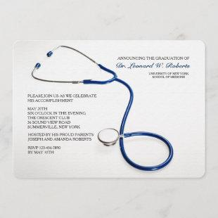 Stethoscope Blue Medical School Graduation Invites
