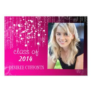 Strings of Light Hot Pink Photo Graduation Cards
