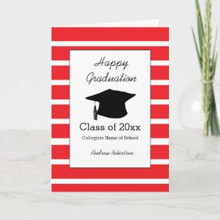 Striped Red Class of 2021 Graduation Card
