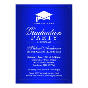 Stunning Royal Blue Gradient Graduate Graduation Invitation