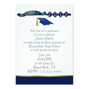 Stylish Blue and Gold Graduation Party Invitation