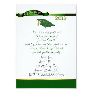 Stylish Green and Gold Graduation Party Invitation