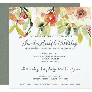 SUBTLE PEACH PINK WATERCOLOR FLORAL WORKSHOP EVENT INVITATION