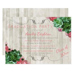 Succulents Floral Rustic Graduation Party Invitation