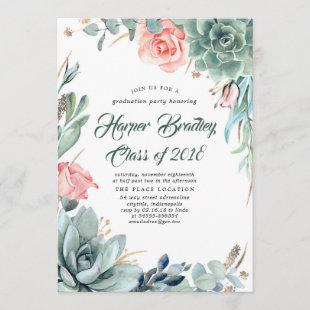 Succulents Greenery and Pink Rose Graduation Party Invitation