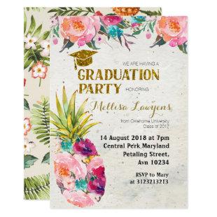 Summer Pineapple Graduation Party Invitation