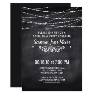 Summer String Lights Going Away Party Invitation