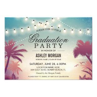 Summer String Lights Outdoor Graduation Party Invitation