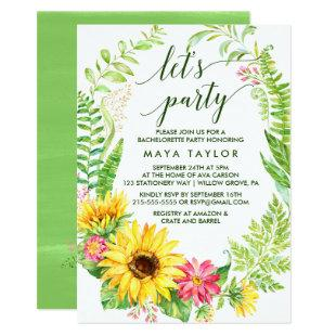 Summer Sunflower Wreath Let's Party Invitation
